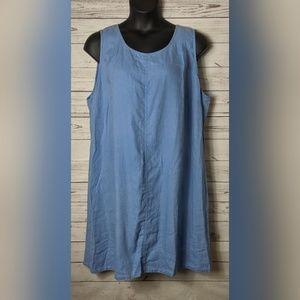 J Jill 3X Light Blue Sleeveless Linen Dress